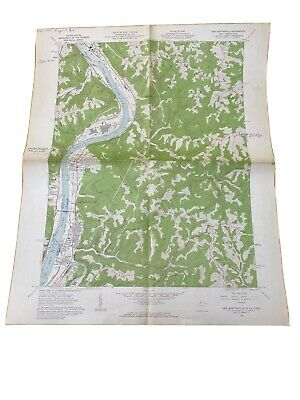 1962 Map USGS Topo New Martinsville West Virginia - Ohio River - Vintage