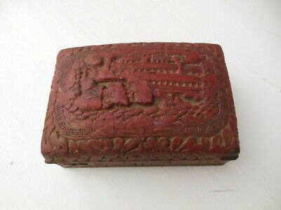 Antique Asian Soap Jewelry Box Redware Stoneware Carved Domed Lid