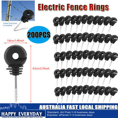 200pcs Electric Fence Ring Insulator Timber Wood Post Nail Screw on 9.5cm 3.74""