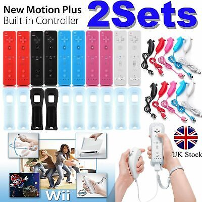 2Sets REMOTE CONTROLLER and NUNCHUCK FOR NINTENDO WII & WII U & SILICONE + STRAP
