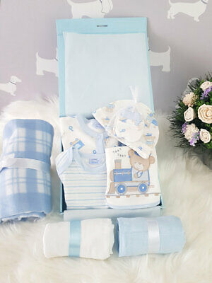 PERSONALISED 'Bears and Trains' New Baby Boy Gift Hamper, Baby Shower Present