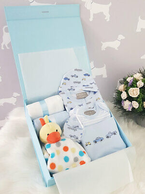 PERSONALISED 'Vehicles' New Baby Boy Gift Hamper, Baby Shower Present LARGE