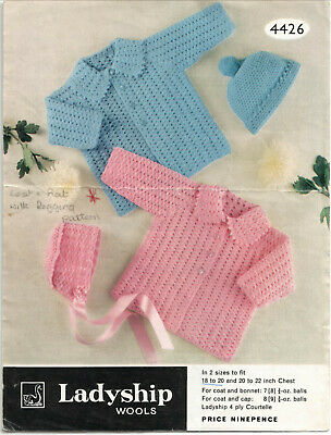 161 Babies 4ply Bonnets /& Hats x4 Knitting Pattern ONLY 3-12mths Vintage