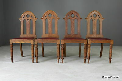 4 Oak Gothic Revival Chapel Dining Chairs (2)
