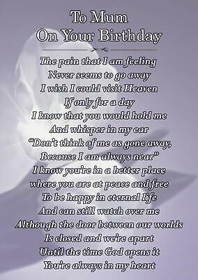 To Mum On Your Birthday Memorial Graveside Poem Card With Free Ground Stake F162