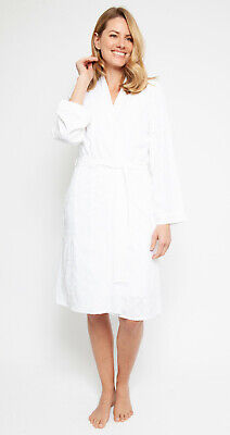 Ladies Womens White Embroidered Robe Dressing Gown 'Portia' Nora Rose (1372)