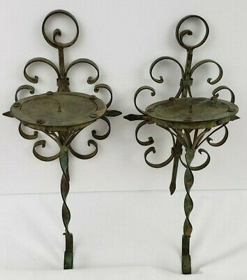 Pair Antique Scroll Wrought Iron Metal Candle Holder Sconce Verdigris Green Tole