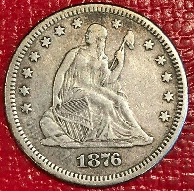 High Grade Xf 1876 Liberty Seated Silver Quarter-Old Us Coin-Mar004