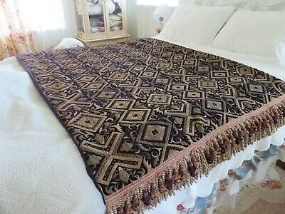 ANTIQUE French Chenille Velvet THICK & HEAVY Ornate Victorian Carriage Lap Robe