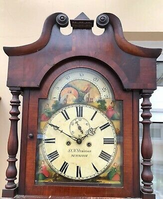 Antique Grandfather Clock With Rolling Moon Phase C1840 Sold In Good Working