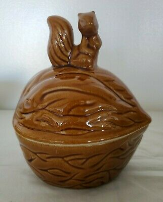 Vintage Ceramic Lidded Nut Dish Shaped Walnut with Squirrel on Top Delightful!