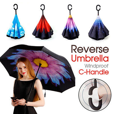 Upside Down Reverse Umbrella Double Layer Windproof Inside-Out Inverted C-Handle