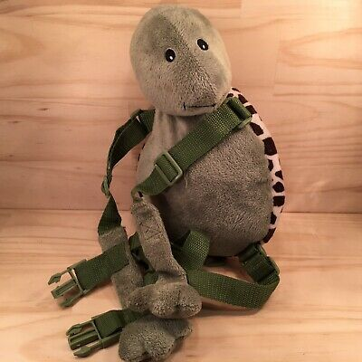 "GOLD BUG ""Green"" Plush Turtle Shaped Toddlers Kids Backpack Leash Lead"