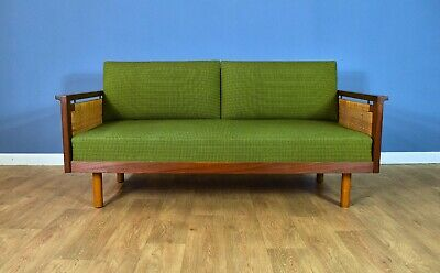 Mid Century Retro Danish Teak & Wool 2.5 Seat Sofa Day Bed by Illum Wikkelsø 60s