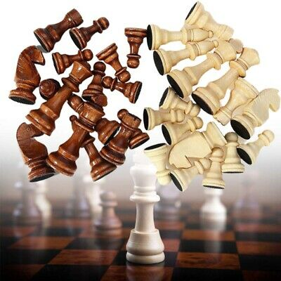 Totally 32 Pieces Large Wooden Carved Chess Pieces Hand Crafted Set 9 cm King UK