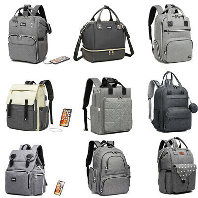 Multi-Function Baby Mummy Diaper Nappy Backpack Changing Shoulder Bag Pram Clips