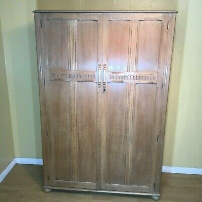 good light oak mid century two door wardrobe