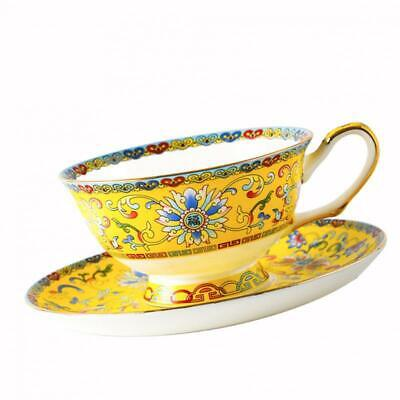 Tea Cup and Saucer Set 7oz Bone China Chinese Style Teacup Fine Table Decor