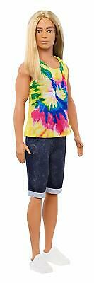 Barbie GHW66 Fashionistas Ken Doll with Long Blond Hair & Tie-Dye T-Shirt