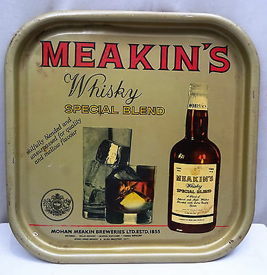 Vintage Advertising Tin Tary Serving Meakin's Whiskey Rare Collectibles