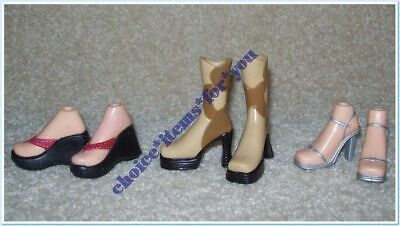 BRATZ MGA SHOES STRUTTIN' STYLE 2004 x 3 PAIRS : BOOTS : HIGH HEELS : THONGS (3)