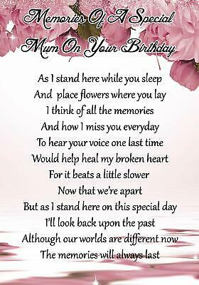Special Mum On Your Birthday Memorial Graveside Poem Card & Ground Stake F59