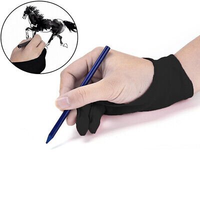 1x Black Two Finger Anti-fouling Glove For Artist Drawing/Pen Graphic Tablet Pad