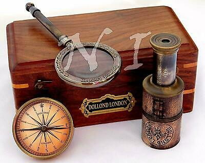 Vintage Dollond London Gift Set Box Brass Compass Telescope & Magnifying Glass