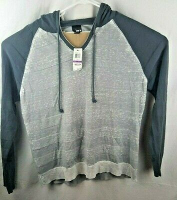 BAR III Textured Striped Lightweight Hooded Sweater Aircraft Gray LS XXL $59 NEW