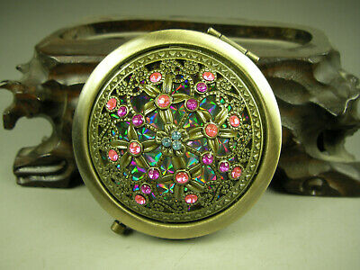 Delicate two sides copper mini mirror boxes Colorful Beautiful FLOWER 10