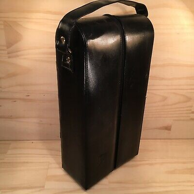 "CARLO ROSSINI ""Black"" High Quality Leather Wine Bottle Carry Case Storage Box"