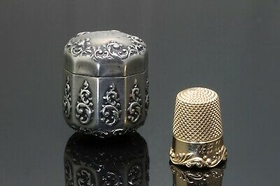 Victorian Sterling Silver Thimble case with 14K yellow gold thimble