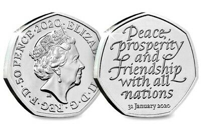 Withdrawal from the European Union 2020 UK 50p Brilliant Uncirculated Coin L@@K!