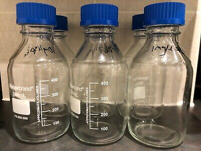 Laboratory Bottles 500ml x6 Fisherbrand Duran Glass Storage Reagents