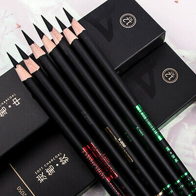 LD_ 12Pcs Sketch Write Drawing Soft Medium Hard Carbon Charcoal Pencil Art Sup