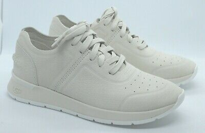 New Ladies Ugg Adaleen Nubuck White Lace Up Trainers Uk 7