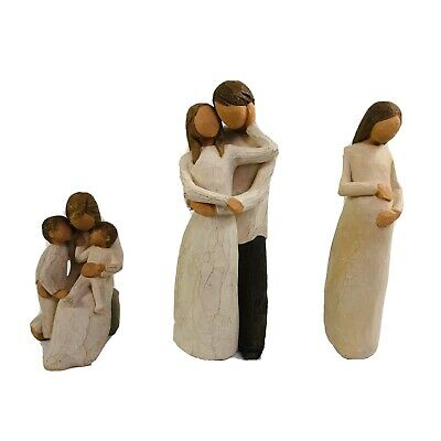 Willow Tree Lot of 3 Couple Figurines Together Quietly Cherish Susan Lordi