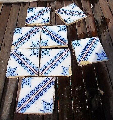 antique wall tiles,french Desvres tile, mostly frost damaged, for mosaic, crafts