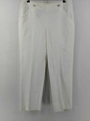 Kasper Womens Dress Career Sailor Pants White Stretch Button Tabs Zipper 10 New