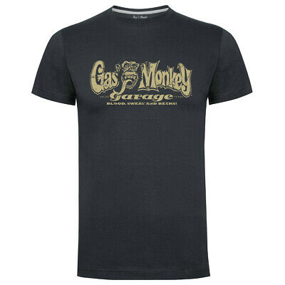 Gas Monkey Garage Gmg Merchandising Ufficiale Sdrucito Logo T-Shirt Uomo Carbone