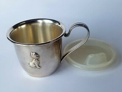 "820 SILVER SELANDIA DENMARK Cat Cup Plastic Lid Personalized/Engraved ""SHELLEY"""