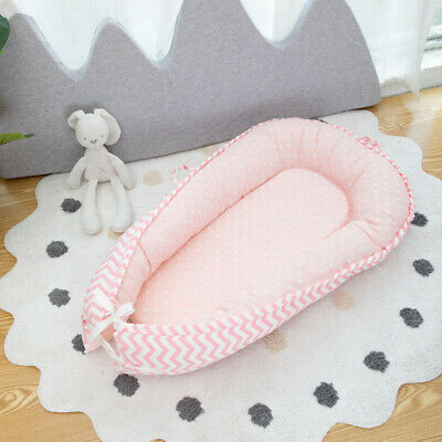 Foldable Baby Lounger for Bed Outdoor Baby Nest for Baby 0-3 Years Old Pink