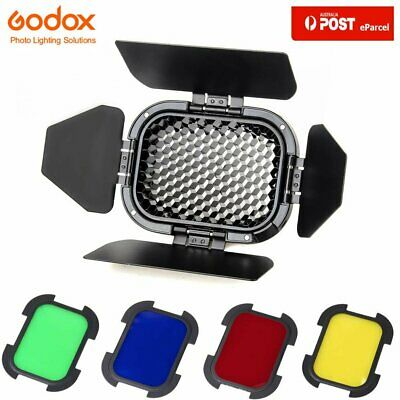 AU Godox BD-07 Witstro Barn Door+Honeycomb & 4 Colour Gels for AD200 AD200pro