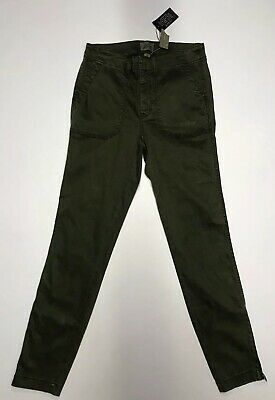 J Crew Skinny Stretch Cargo With Zippers Women's Pants Sz 27 Green $98 NWT F9469