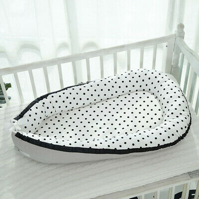 Travel Baby Lounger Newborn Infant Baby Bed Portable Pillow 0-3 Years Old Black