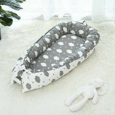 Foldable Portable Sleep Baby Bed 0-3 Years Olds Infant Lounger Nest Clouds_Grey