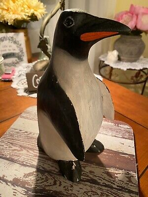 """Hand carved Wood   8"""" PENGUIN *Indonesia*"""