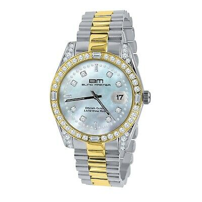 Men's 2 Tone Gold Stainless Steel Mother Pearl Dial Simulated Diamond 40mm Watch