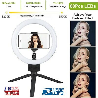 """9"""" LED Studio Camera Selfie Ring Light Dimmable w/ Phone Holder + 2 Tripod Stand"""