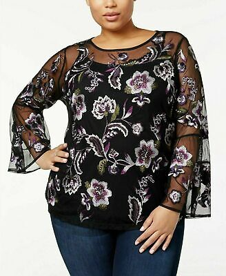 INC Womens Top 2x Black Purple Embroidered Floral 2Pc Cami Plus Size Blouse New
